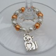 Cat Heart Tummy Wine Glass Charm - Full Sparkle Style